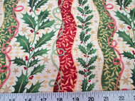 Discount Fabric Quilting Cotton Christmas Holly Red and Green Floral Stripes 18T