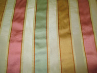 Fabric Robert Allen Beacon Hill Bourbon Stripe Topaz 100% Silk Drapery 14II