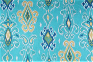 Discount Fabric Richloom Upholstery Drapery Siam Turquoise Ikat Tribal 27QQ