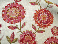 Fabric Richloom Upholstery Drapery Periwinkle Fuchsia Chenille Floral 33GG
