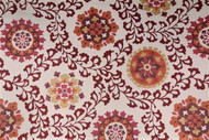 Fabric Richloom Upholstery Drapery Alango Tomato Jacquard Tapestry Floral 21GG