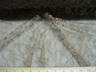 Discount Fabric Organza Mesh Lace Latte Brown Floral Abstract LC304