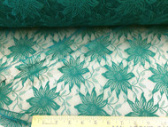 Discount Fabric Stable Mesh Lace Dark Teal Floral 307LC