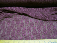 Discount Fabric Stretch Metallic sheen Lace  Purple Floral 70' in  310LC