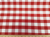 Discount Fabric Upholstery Drapery Twill Red and White Check 19DR