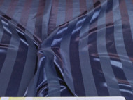 Discount Fabric Upholstery Drapery Brocade Satin Stripe Navy Blue 30DR