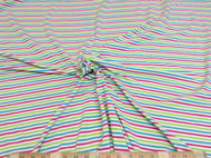 Discount Fabric Lycra Spandex 4 way stretch Pink Green Turquoise Stripe 600LY