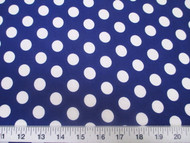 Discount Fabric Printed Lycra Spandex Stretch Blue with White Polka Dots 302H