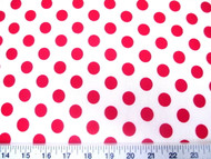 Discount Fabric Printed Lycra Spandex Stretch White with Red Polka Dots 301H