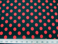 Discount Fabric Printed Lycra Spandex Stretch Black with Red Polka Dots 200H