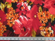 Discount Fabric Printed Lycra Spandex Stretch Bold Floral Red Orange 301B