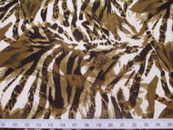 Discount Fabric Printed Lycra Spandex Stretch Big Cat Stripe Olive Brown 201E