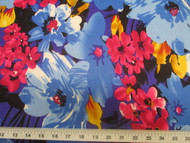 Discount Fabric Printed Lycra Spandex Stretch Bold Floral Royal Blue Black 302B
