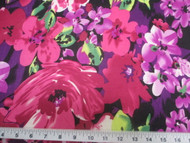 Discount Fabric Printed Lycra Spandex Stretch Bold Floral Fuschia Purple 402B