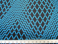 Discount Fabric Printed Lycra Spandex Stretch Turquoise Geometric Diamonds 200B