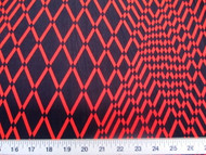 Discount Fabric Printed Lycra Spandex Stretch Red Orange Geometric Diamonds 201C