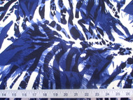 Discount Fabric Printed Lycra Spandex Stretch Big Cat Stripe Navy Blue 302E