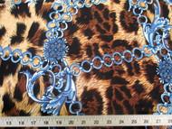 Discount Fabric Printed Lycra Spandex Stretch Big Cat Chains Black & Brown 302C