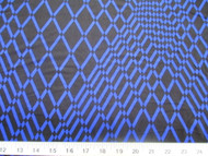 Discount Fabric Printed Lycra Spandex Stretch Royal Blue Geometric Diamonds 300B