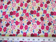 Discount Fabric Challis Rayon Pink, Blue and Yellow Floral 2 yds @ $6.99 202J