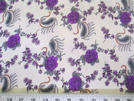 Discount Fabric Challis Rayon Purple Floral Gray Paisley 2 yds @ $6.99 403J