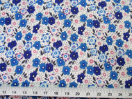 Discount Fabric Challis Rayon Blue, Pink and Gray Floral 2 yds @ $6.99 404J
