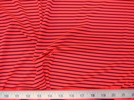 Discount Fabric Printed Nylon Lycra Spandex Hot Pink and Black Stripe 708LY