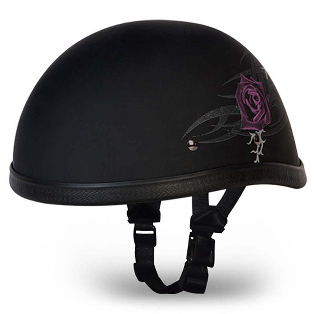 Ladies | Womens Purple Rose Novelty Motorcycle Helmet - Sizes XS S M L XL 2XL
