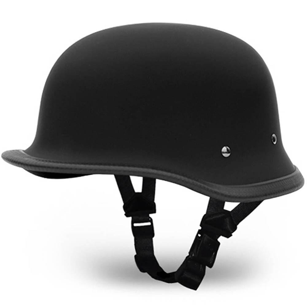 Matte Black German Novelty Motorcycle Helmet   Novelty Helmets by Daytona XS-2XL