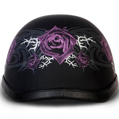 Ladies | Womens Purple Rose Novelty Motorcycle Helmet - Sizes XS S M L XL 2XL