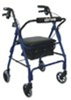 """Drive Deluxe Aluminum Rollator with Padded Seat, 6"""" Casters with Lever Locks and Pouch"""