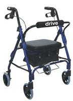"Drive Junior Aluminum Rollator, Padded Seat, 6"" Casters with Loop Locks"