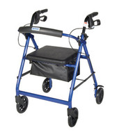 """Drive Aluminum Rollator with Fold Up and Removable Back Support, Padded Seat, 6"""" Caster w/Loop Locks"""
