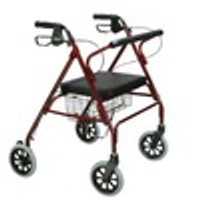 "Drive Go-Lite Bariatric Steel Rollator, Padded Seat, 8"" Casters with Loop Locks"