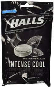 Halls Menthol Cough Drops - NEW Intense Cool - Soothes Sore Throats 30 drops