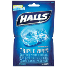 Halls Drops, Ice Peppermint, 30-Count