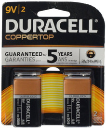 Duracell Coppertop 9V Alkaline Batteries 2 Pack