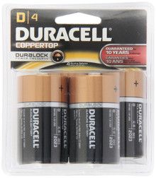 Duracell Coppertop D Alkaline Batteries, 4 Count