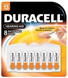 Duracell 1.4 Volt Zinc Air Hearing Aid Batteries Size #13 DA13B8 (8 Batteries)