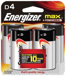 Energizer MAX D Alkaline Batteries, 4-Count