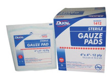 "Dukal 12 Ply Sterile Gauze Sponges 4"" X 4"" (25 pack)"