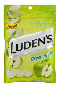 Ludens Green Apple Cough Drops, Always Soothing Never Sour, 25 Count