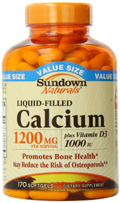 Sundown Naturals Calcium 1200 Plus Vitamin D3 1000 IU, 170 Liquid Filled Softgel
