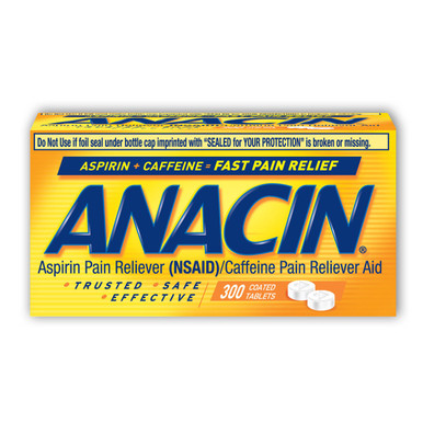 Anacin Fast Pain Relief Aspirin & Caffeine Pain Reliever 300-Ct Coated Tablets