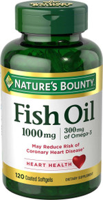 Nature's Bounty Fish Oil 1000 mg Omega-3 & Omega-6 Odorless Softgels 120
