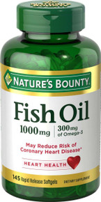 Nature's Bounty Fish Oil 1000 mg Cholesterol Free Omega-3 Softgels 145