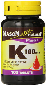 Mason Vitamins Vitamin K 100 mcg Tablets, 100 Count Bottle