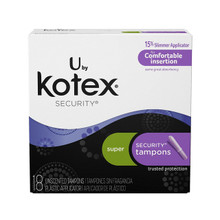 Kotex Security Tampons with Plastic Applicator, Super Absorbency, 18 ct