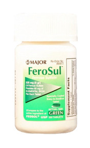 FeroSul 325mg (5GR) Ferrous Sulfate Coated Easy-To-Swallow 100 ct.