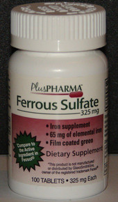 PlusPharma Ferrous Sulfate dietry suplement 325mg 100ct